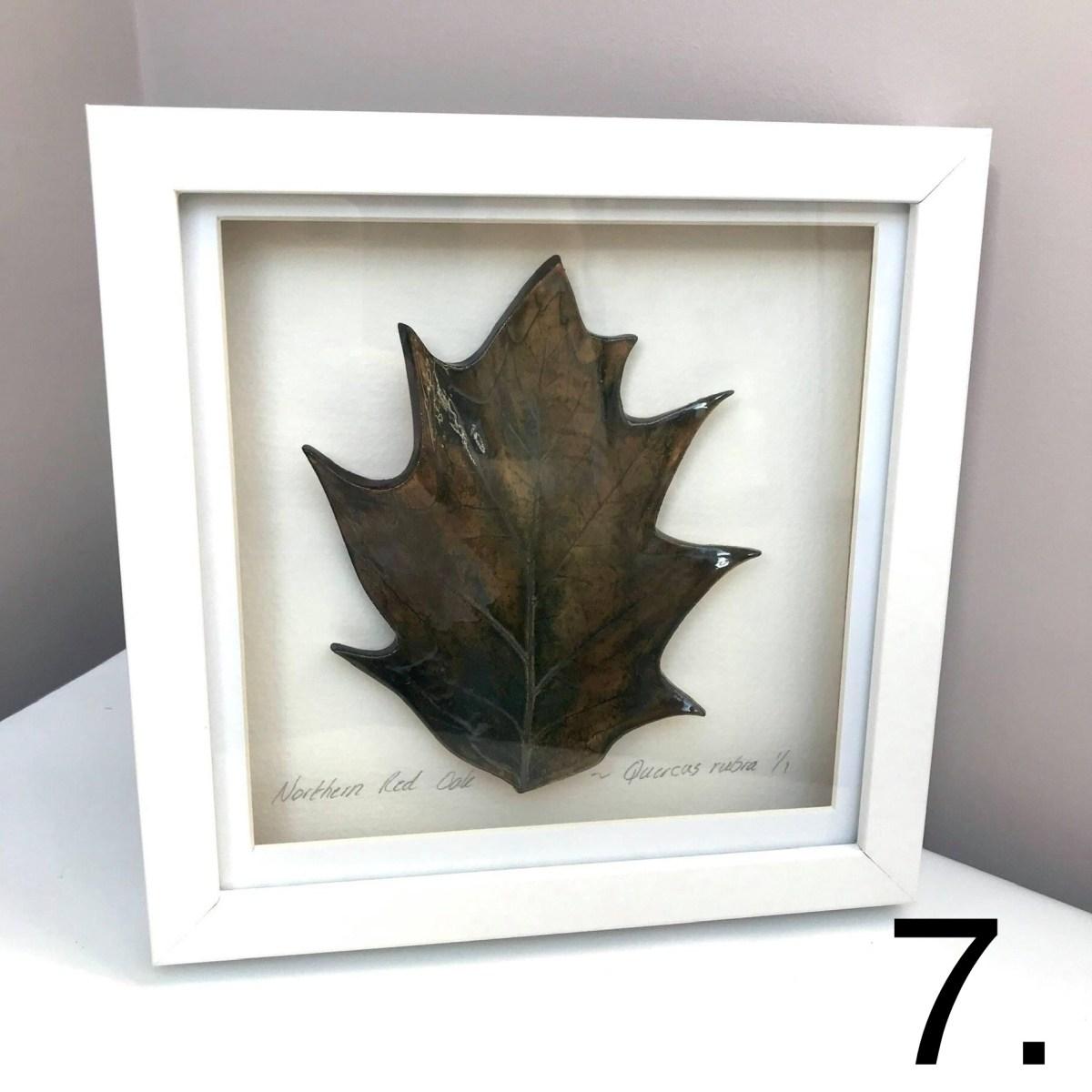 Framed Black Oak Leaf By Ceramics Inspired By Nature