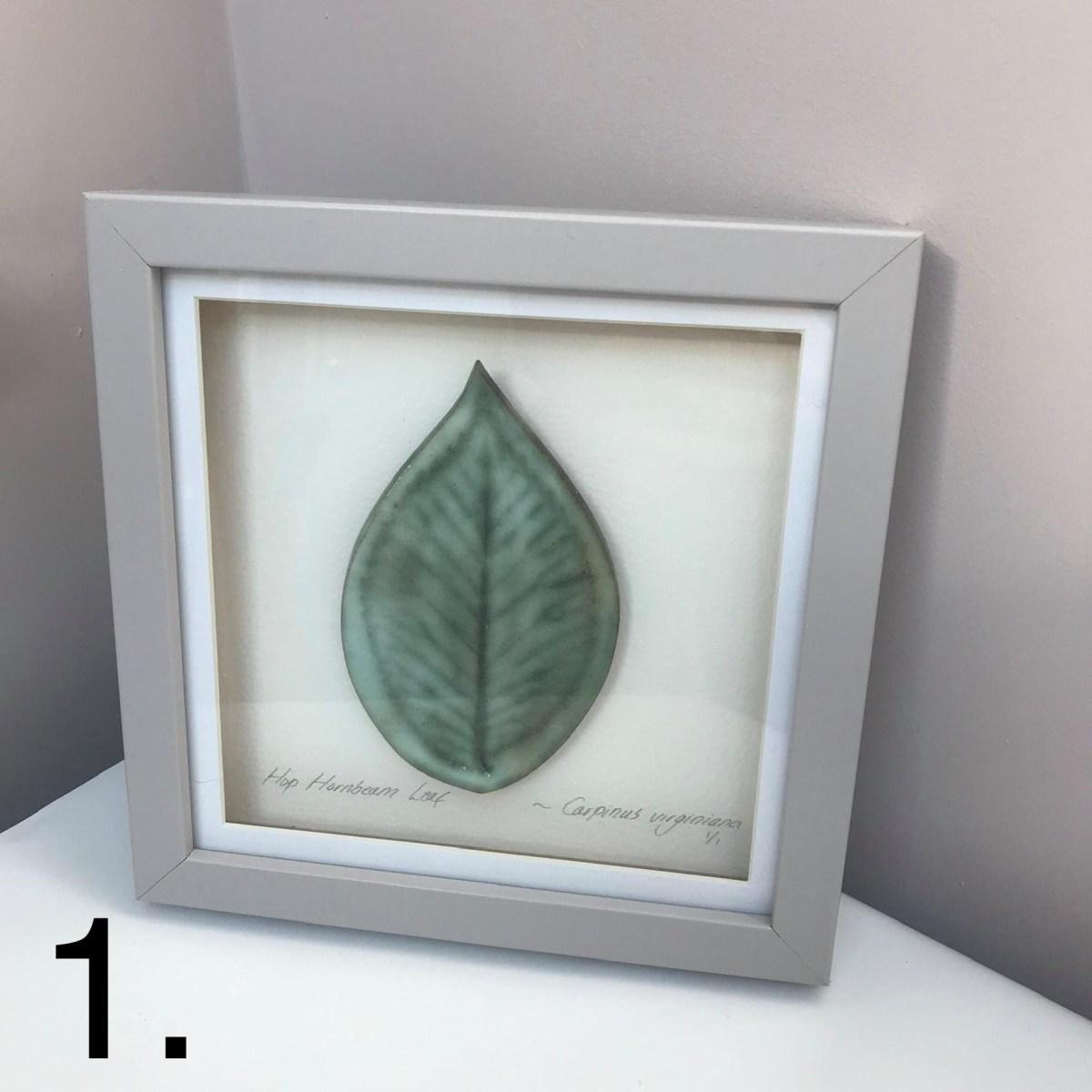 Framed Hornbean Leaf 1 By Sonya Ceramic Art