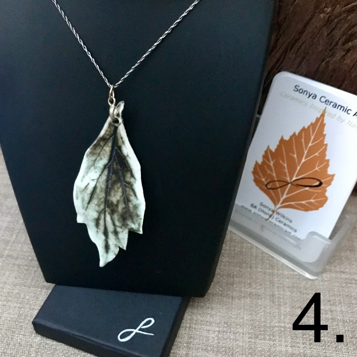 Honeysuckle Leaf Pendant by Ceramics Inspired By Nature