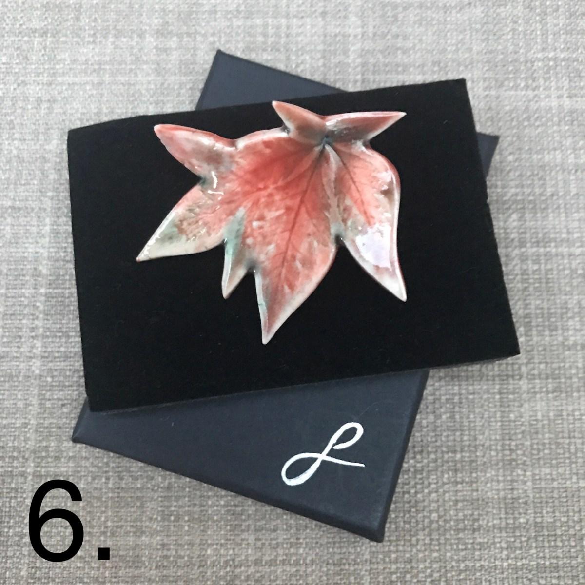 Maple Leaf Brooch By Sonya Ceramic Art