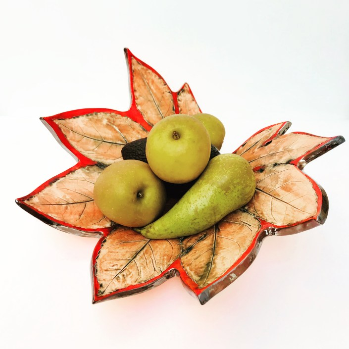 Autumn Red Fatsia Fruit Bowl with Fruit by Sonya Ceramic Art