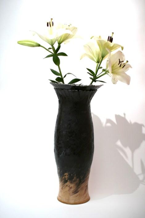 Black Clay & Lily Sonoran Vase by Sonya Ceramic Art