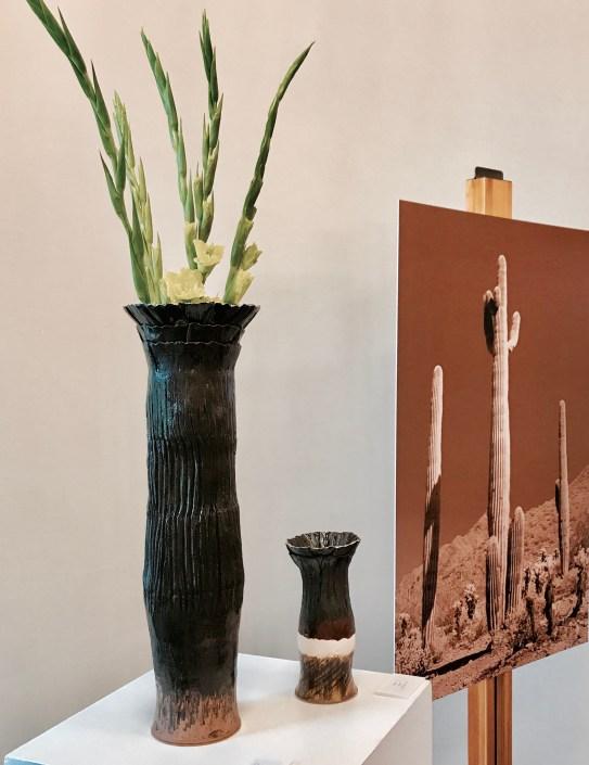Black Clay Tall Sonoran Cactus Vase Exhibition by Sonya Ceramic Art