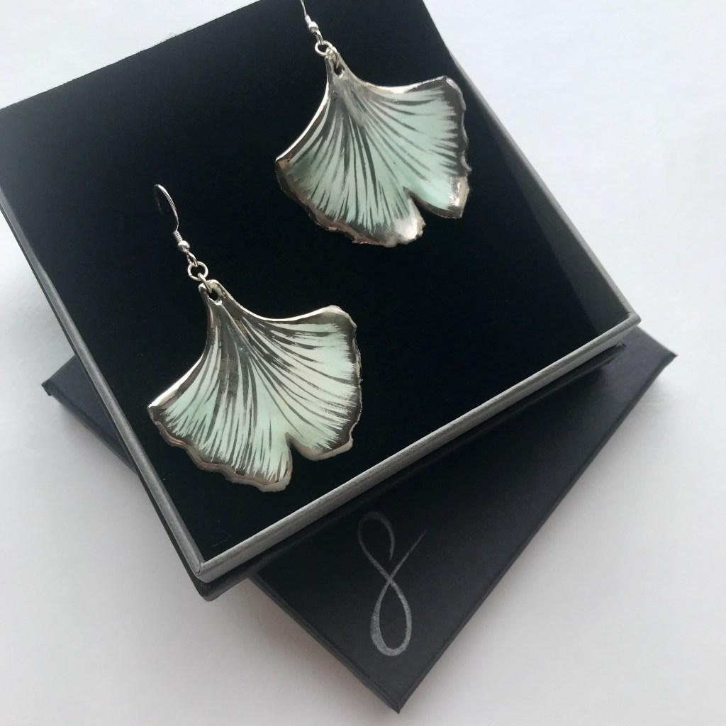 Ginkgo Leaf Earrings by Sonya Ceramic Art