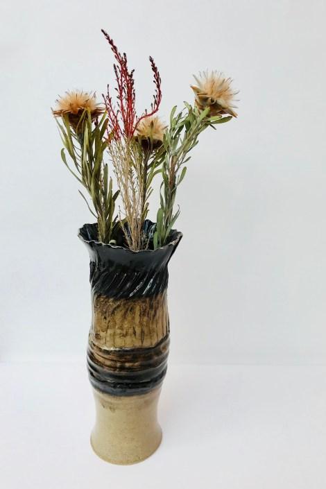 Black Clay Twist Sonoran Vortex Vase by Sonya Ceramic Art
