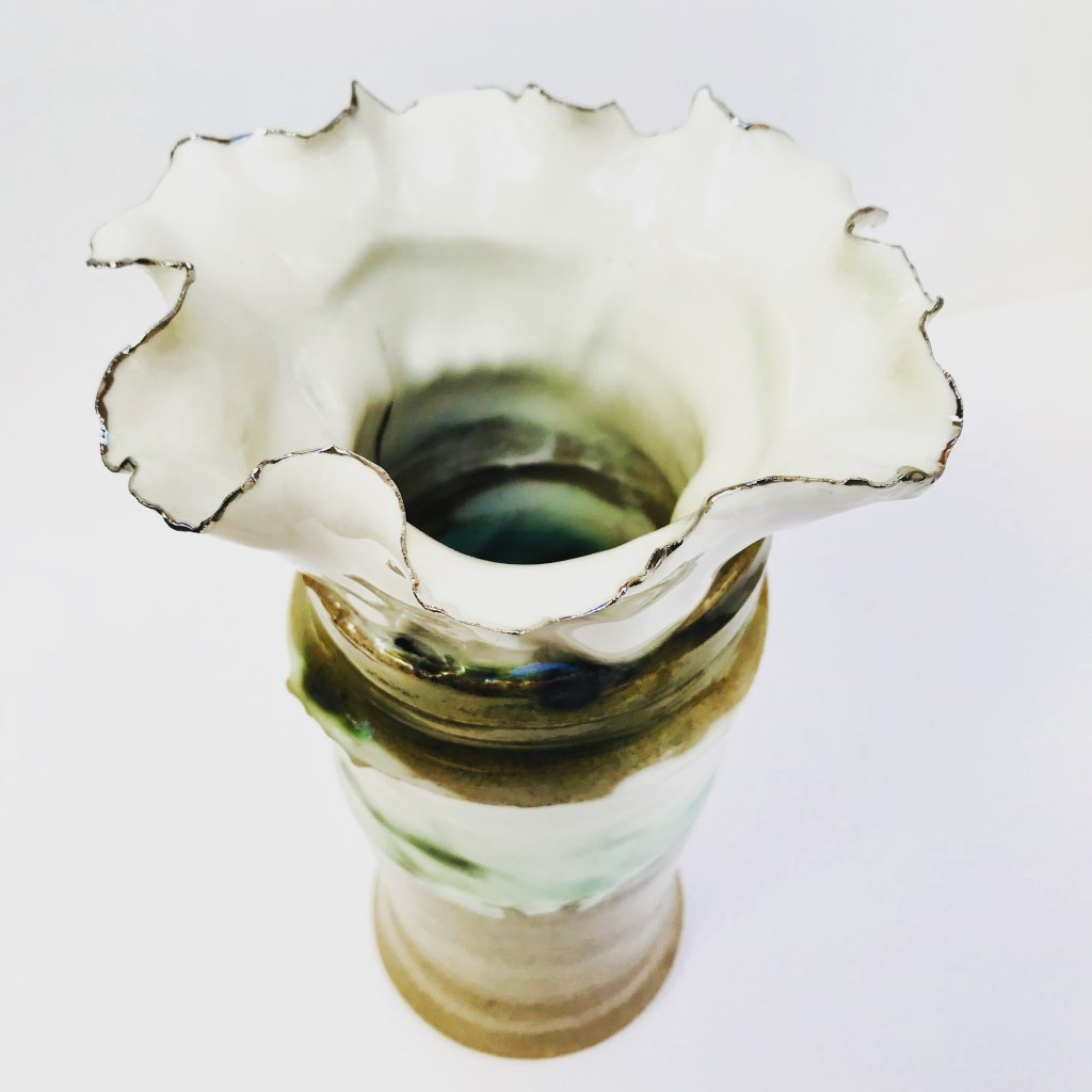 Rim Detail on Sonoran Vortex Vase by Sonya Ceramic Art (Porcelain & Platinum Lustre)