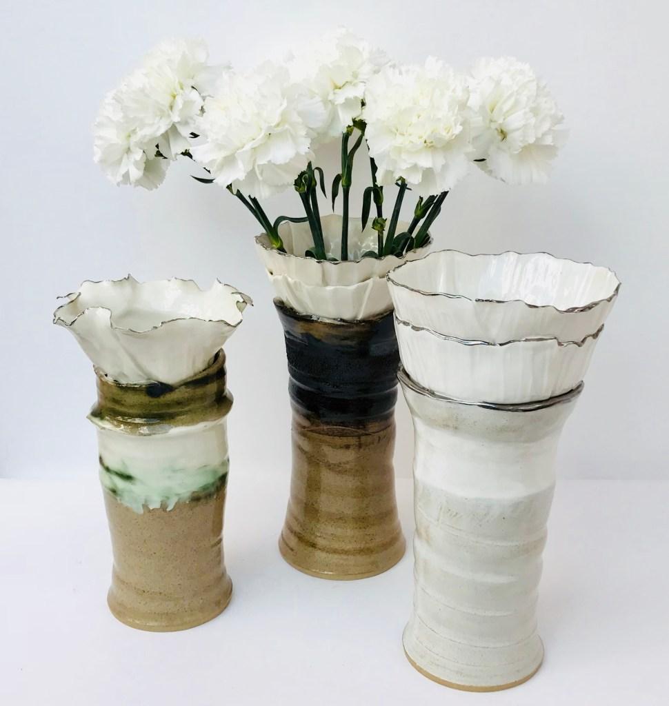 Trio of Sonoran Vortex Vases by Sonya Ceramic Art