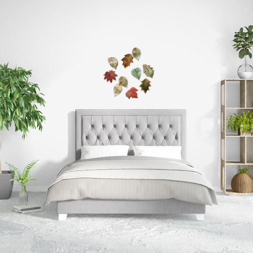 Bedroom with 'Fallen Leaves' Ceramic Wall Art by Sonya Ceramic Art