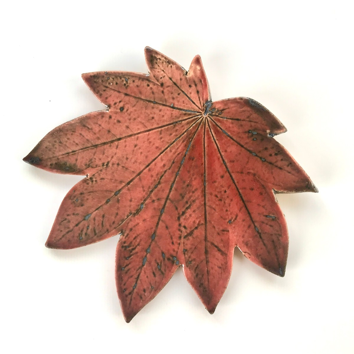 Fallen Leaf Ceramic Wall Art by Sonya Ceramic Art - Red Autumn Maple Leaf Design.jpg