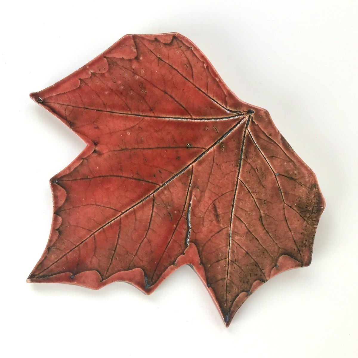 Fallen Leaf Ceramic Wall Art by Sonya Ceramic Art - Red Autumn Sycamore Design