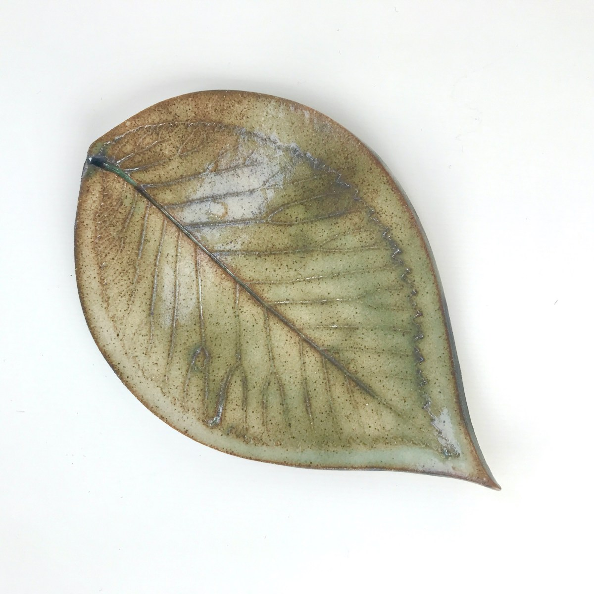 Fallen Leaf Ceramic Wall Art by Sonya Ceramic Art - Rustic Green Hornbeam Leaf Design