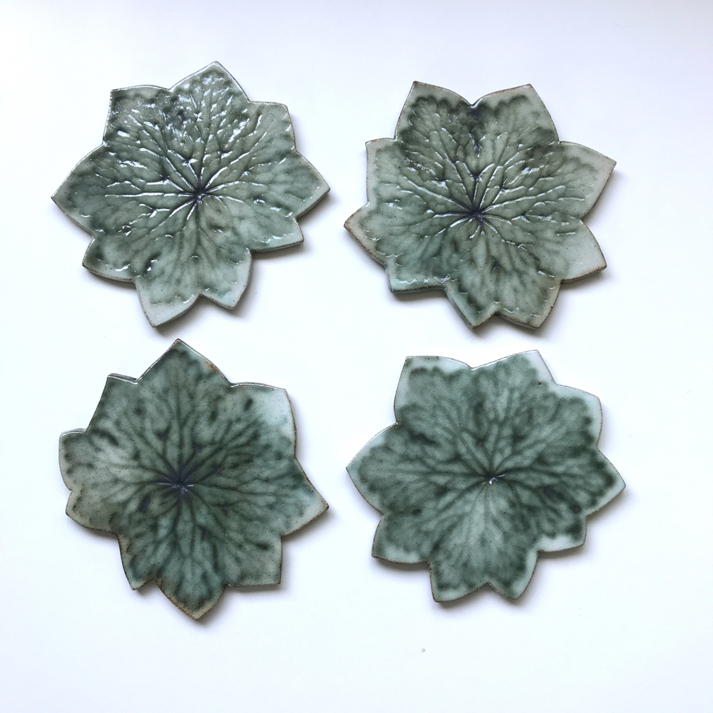 Geranium Leaf Coasters By Sonya Ceramic Art