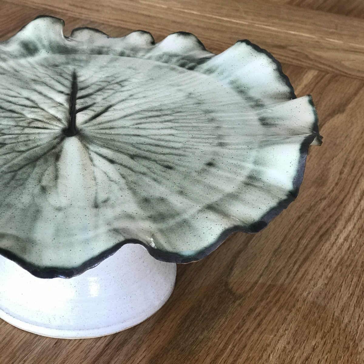 Pond Lily Leaf Cake Stand (detail shot) by Sonya Ceramic Art