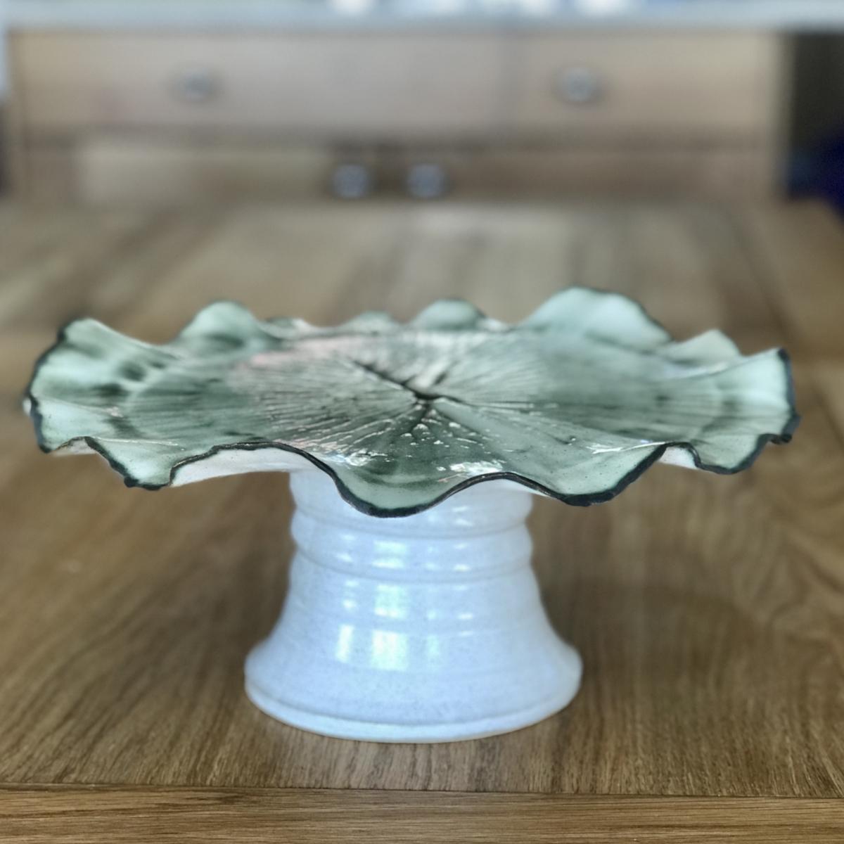Pond Lily Leaf Cake Stand (sisde profile) by Sonya Ceramic Art