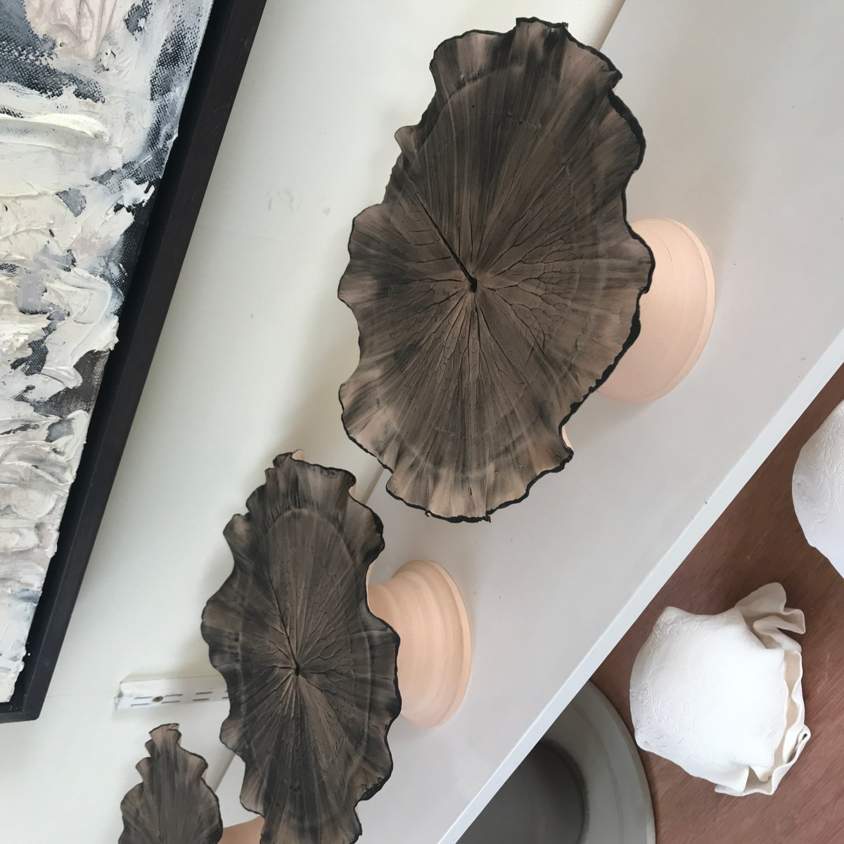 Glazing Process for Pond Lily Leaf Cake Stands by Sonya Ceramic Art