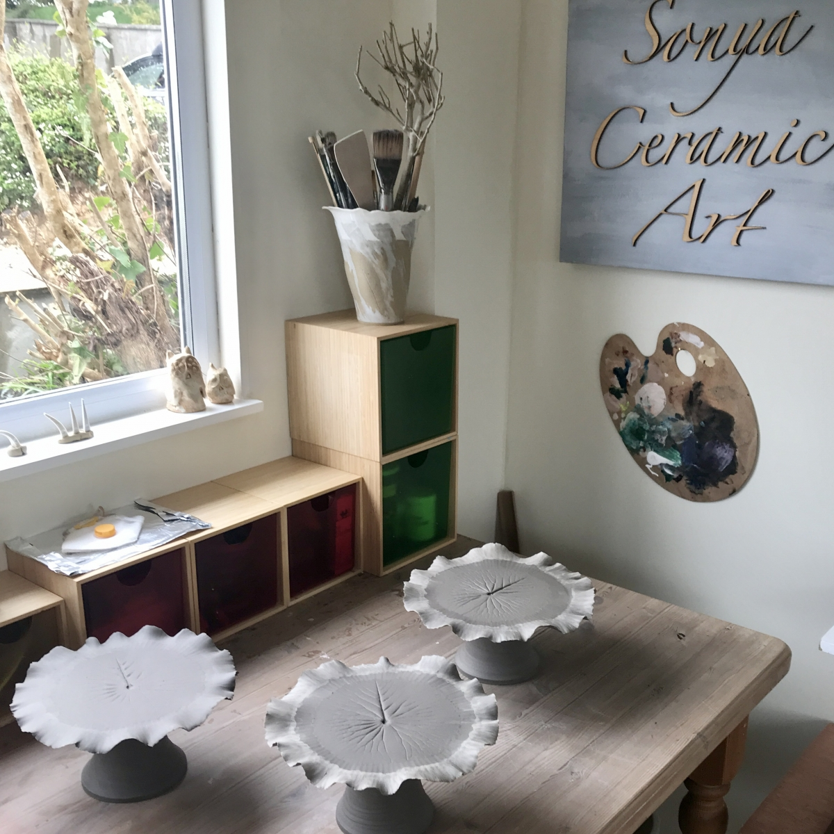Pond Lily Leaf Cake Stands by Sony Ceramic Art (studio shot freshly made in clay)