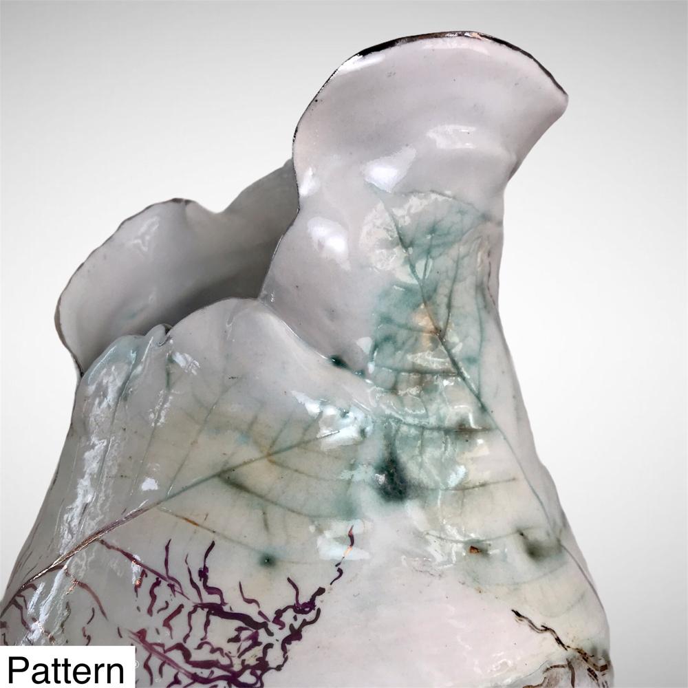 Chrysalis Vase With Copper Oxide Skeleton Leaves