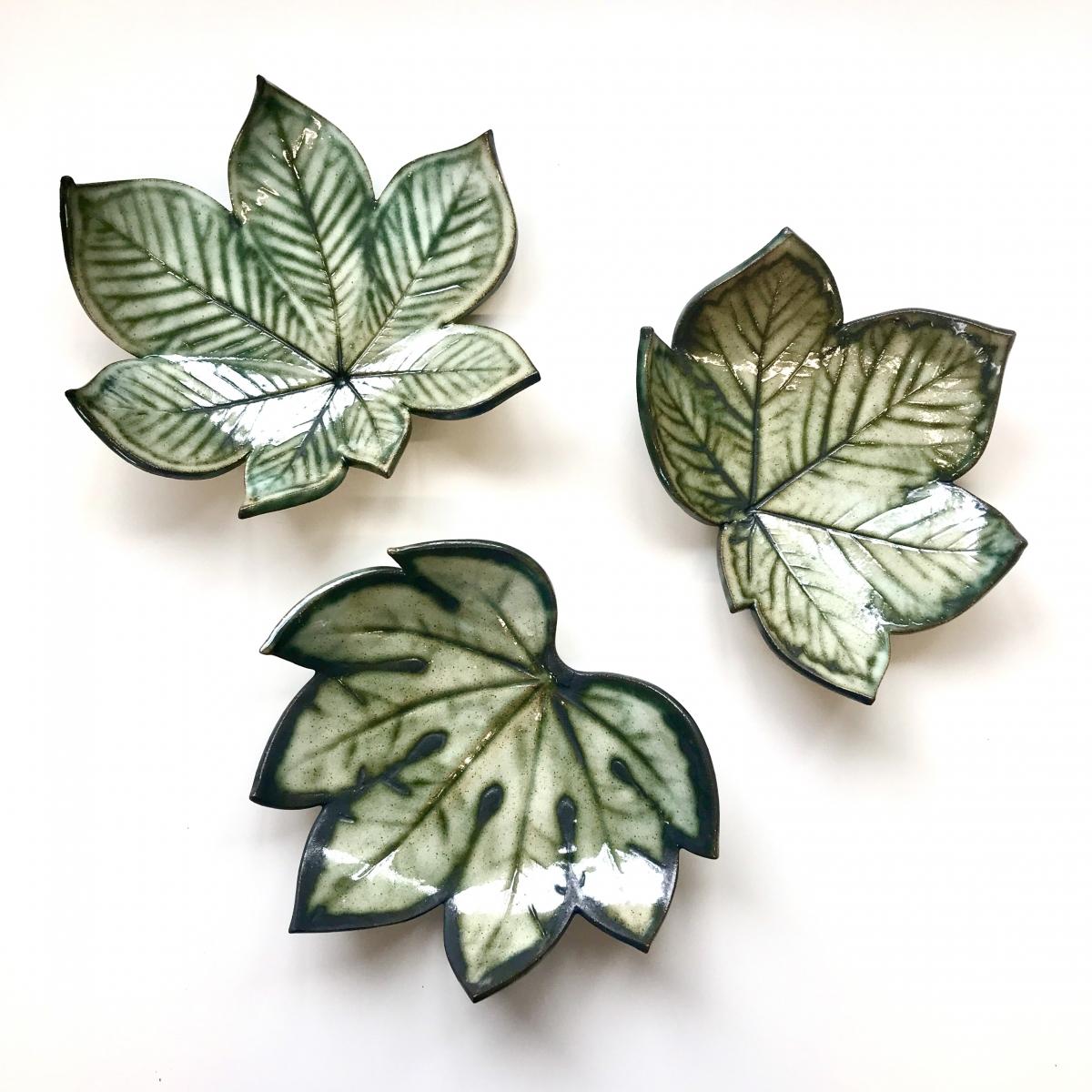 Leaf Trinket Dishes by Sonya Ceramic Art in Rustic Green
